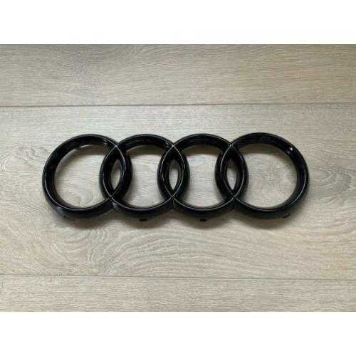 Audi grill logo zwart glans - embleem - ringen - black optic